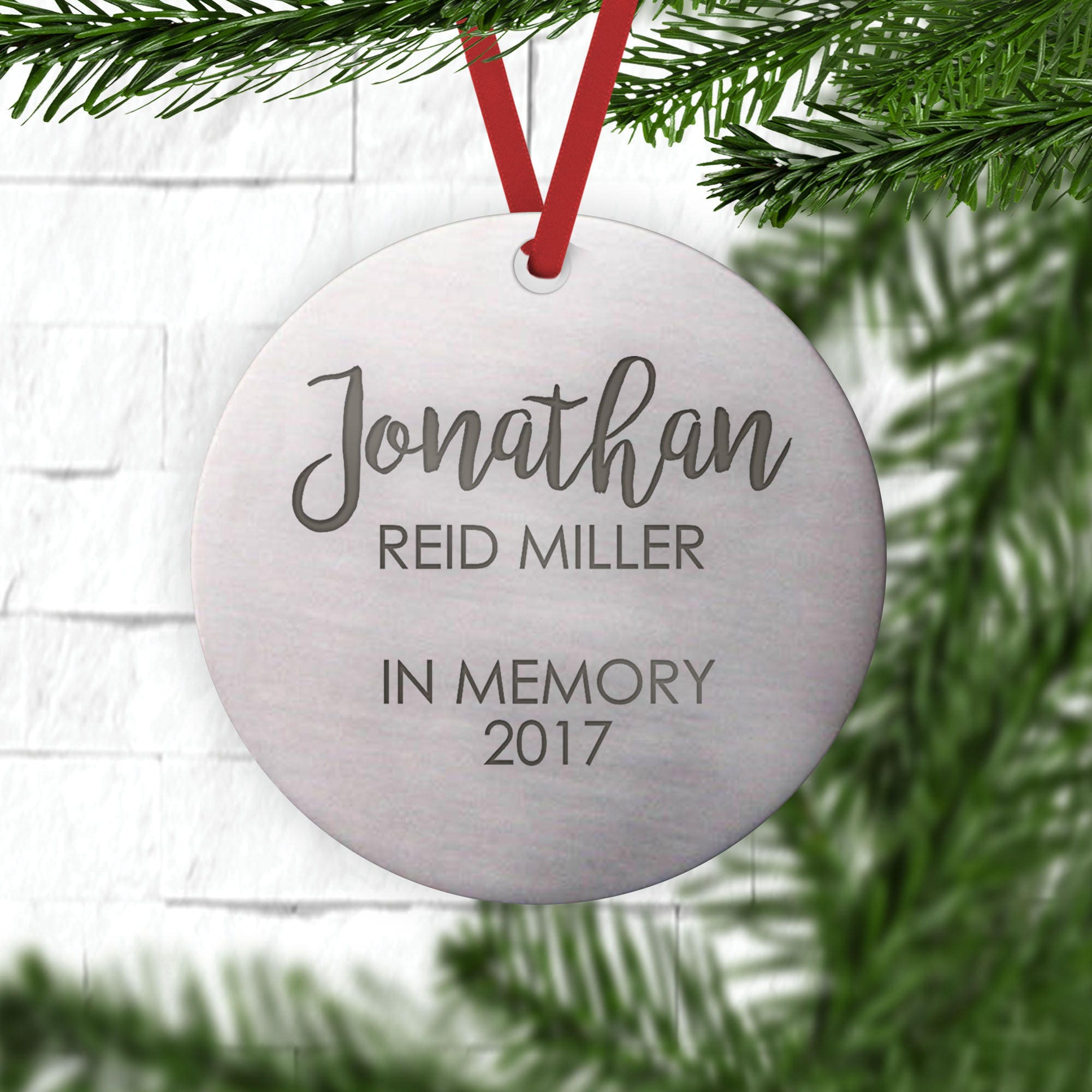 Memorial Ornament Metal Ornament Personalized Remembrance | Etsy