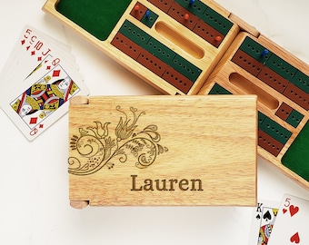 Cribbage Board Custom  Floral Design - Cribbage Board with Storage - Gifts for Gamers - Custom Board Games