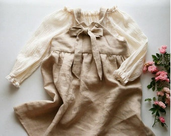 Infant and Toddler Sand Linen Pinafore Dress Handmade by Papoose Clothing