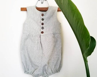 Green Plaid Gender Neutral Romper Infant and Toddler Handmade by Papoose Clothing