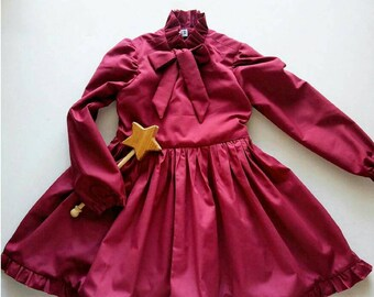 Ruffled Long Sleeve Toddler Dress Handmade by Papoose Clothing