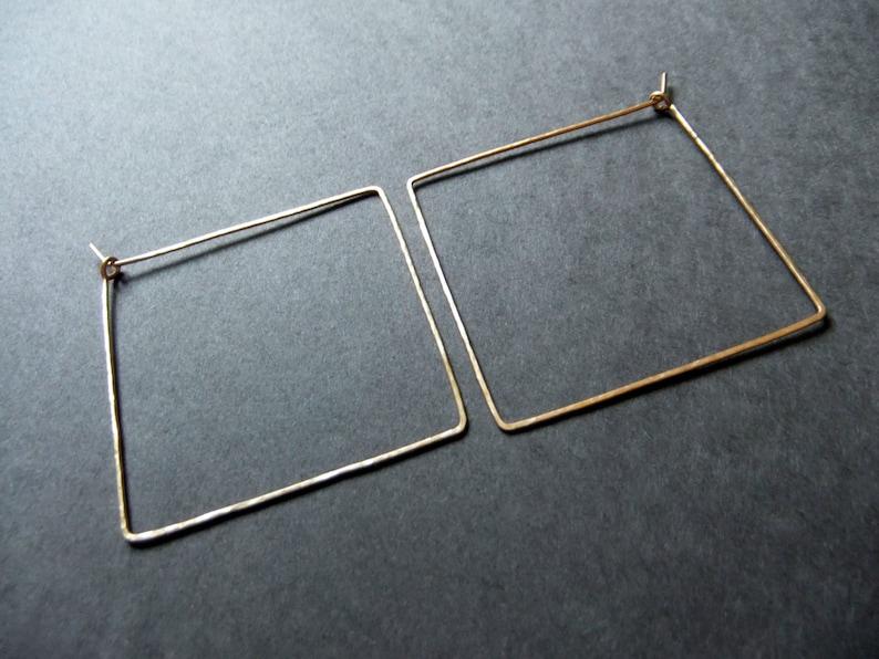 Square Hoop Earrings 14K Gold Filled Sterling Silver Geometric image 0