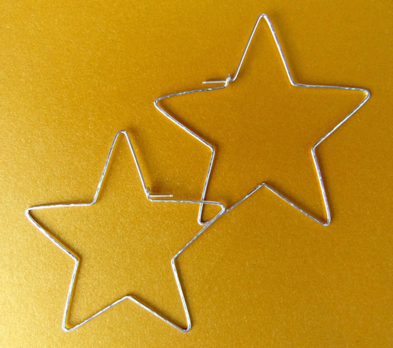 Large Star Shaped Hoops 14k Gold Filled Sterling Silver Star Hammered Star Hoop Earrings Hand Shaped Handcrafted Metal Stars Large Fun Funky