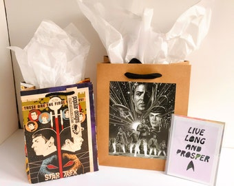 2 Star Trek Comic gift bags & Live Long and Prosper greeting card / Recycled comic book