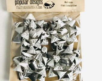4-pack Comic B&W Gift Bows / Recycled comic / handmade gift bow