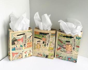2 Superman Comic gift bag & You're Super Card / Recycled comic book/ handmade superhero gift bag2