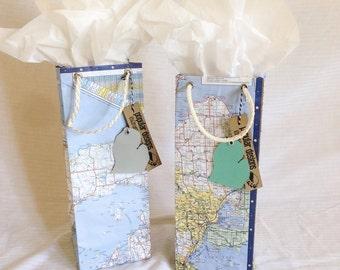 2 Michigan Map wine gift bags / gift wrap / birthday bag / wedding gift bag / vintage recycled