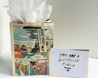 Superman Comic gift bag & greeting Card / Recycled comic book/ handmade superhero gift bag