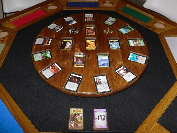 Attirant Wooden Dominion Card Game Rotating Board/Table