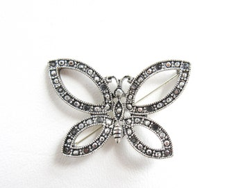 Beautiful Vtg 925 Sterling Silver Real Marcasite & Black Onyx Butterfly Design Pin Brooch Pins, Brooches