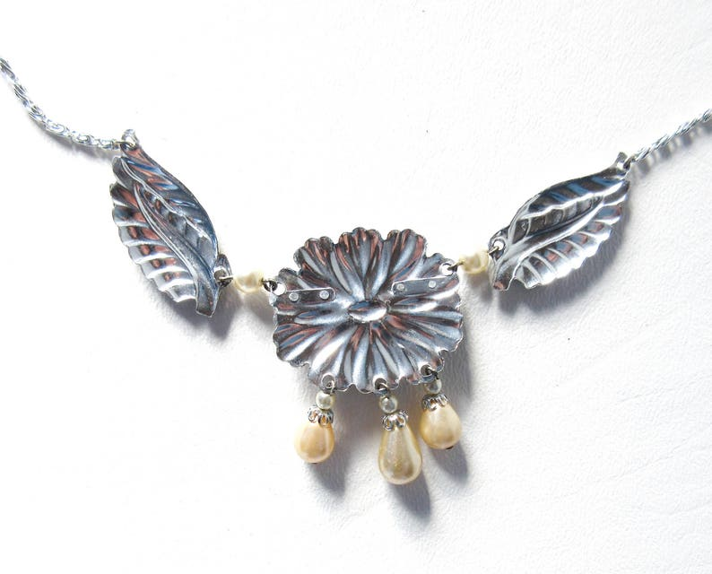 Faux Marcasite and Pearl Flower Necklace West Germany Aluminum Jewelry