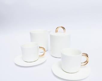 Personalized coffee set wedding gift porcelain and gold