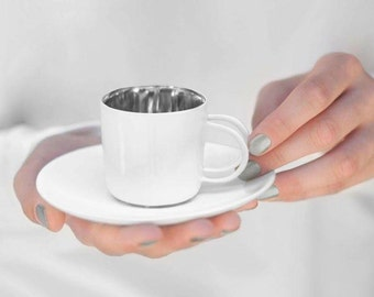 Whimsical porcelain cup with platinum- ceramic luxurious handmade gift