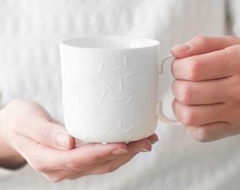 Sprinkled white medium mug - ceramic mug for coffee or tea, luxurious handmade gift