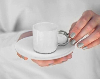 Whimsical porcelain espresso cup - ceramic luxurious handmade gift