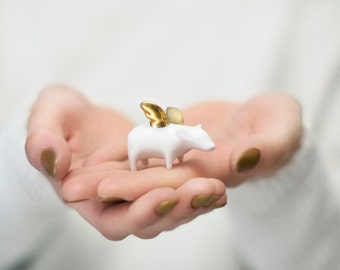 Flying pig Piggy with gold wings, Ceramic miniature sculpture Porcelain figurine, sweet minature animal