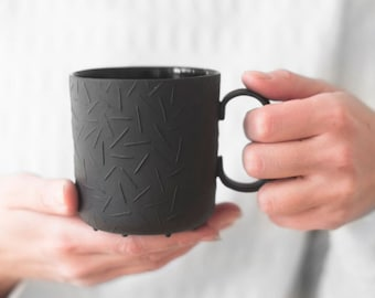 Sprinkled black medium mug - ceramic mug for coffee or tea, luxurious handmade gift