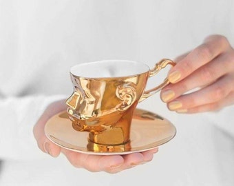 Gold porcelain cup - ceramic cup for coffee or tea, luxurious handmade gift
