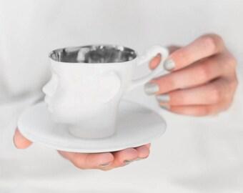 Porcelain cup, platinum inside - ceramic mug for coffee or tea, luxurious handmade gift