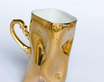 Gold porcelain cup - ceramic mug for coffee or tea, luxurious handmade gift