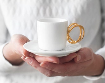 Twisted Handle espresso cup gold handle
