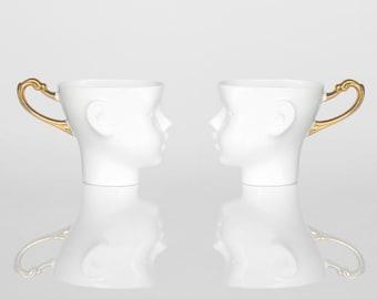 BIG SIZE Porcelain coffee mugs set of two,  ceramic mugs, white and gold, tea mug, china cup