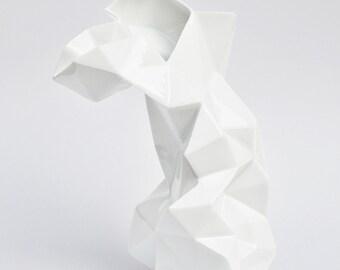 Modern geometric white porcelain Vase - contemporary ceramic design