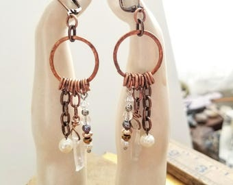 Collector Multi Dangle Earring - Quartz - Pearl - Swarovski