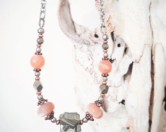 Pyrite & Sunstone String Theory Necklace