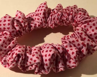 Teeny Tiny Red Hearts on Pink Valentine's Day Cotton Hair Scrunchie