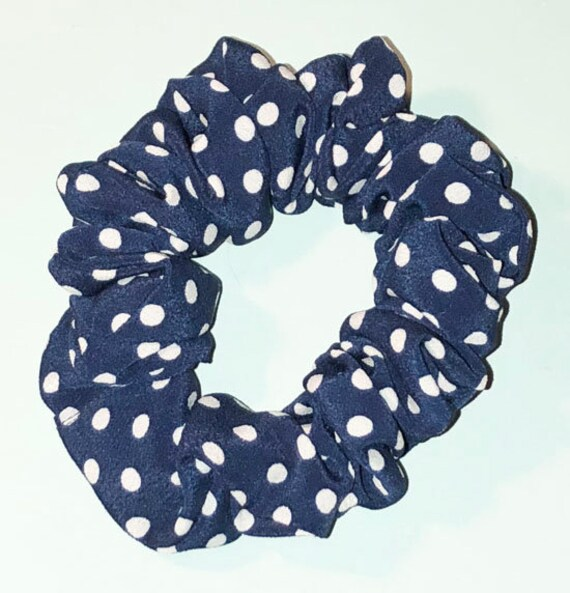 linen navy mustard yellow Made In USA Details about  /Scrunchies pack Polka Dot Handmade