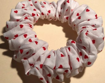 Tiny Red Hearts Scattered on White Cotton Handmade Valentine Hair Scrunchie