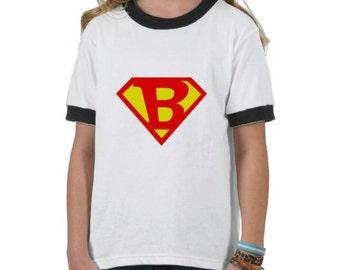 Personalized Tween Superman Logo - Custom Initial Letter Number - DIY Digital Printable