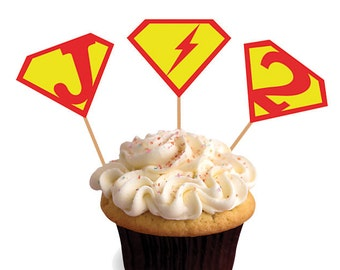 Printable SUPERMAN logo Cupcake Toppers Party Circles - Personalized - DIY Digital PDF