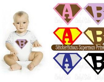 Personalized Baby Superman Logo - Custom Initial Letter Number - DIY Digital Printable