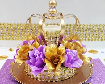crown lavender and gold baby shower centerpiece girls royal princess baby shower theme and decorations