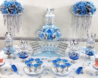 Baby Blue And Silver Candy Buffet Diaper Cake Centerpiece With Etsy