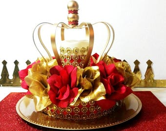 new red and gold baby shower crown centerpiece boys red and gold prince baby shower theme and decorations