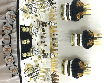 Black And Gold Prince Baby Shower Candy Buffet Centerpiece Etsy