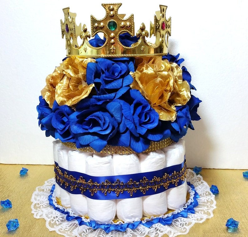 Diaper Cake Centerpiece For Royal Prince Baby Shower
