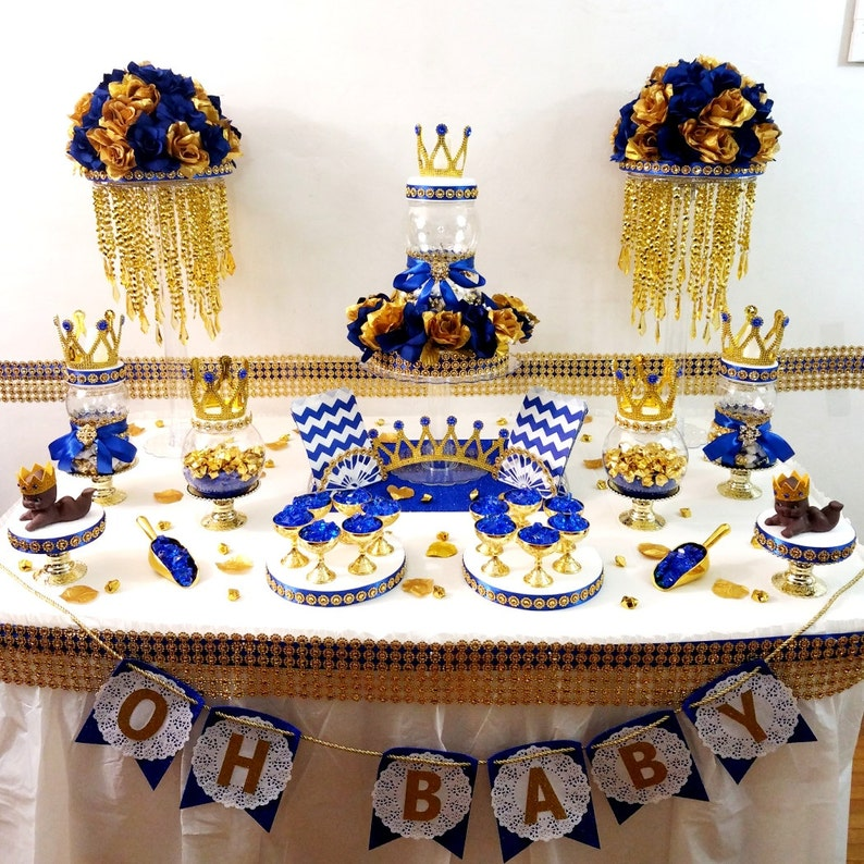 Swell Royal Prince Baby Shower Candy Buffet Centerpiece Royal Blue And Gold Baby Shower Prince Theme And Decorations Beutiful Home Inspiration Xortanetmahrainfo