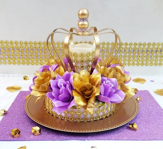 Crown Lavender And Gold Baby Shower Centerpiece Girls Royal Etsy