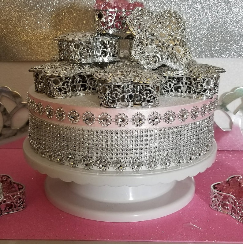 Royal Princess Baby Shower Theme and Decorations 12 NEW SILVER Royal Princess Baby Shower Square-like Design Decorative Box Party Favors