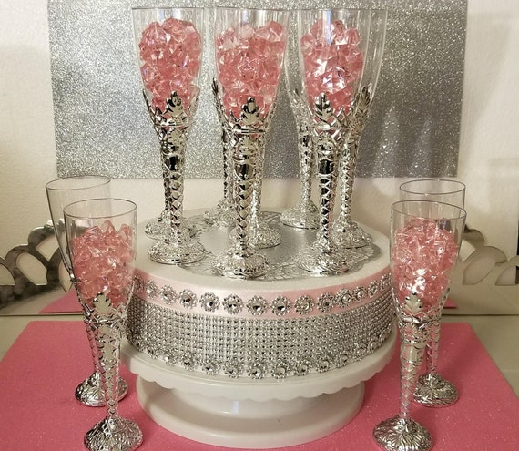 12 Royal Princess Baby Shower Champagne Flutesperfect For Girls Pink And Silver Baby -9111