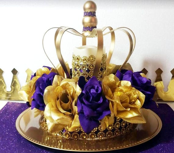 new purple and gold baby shower crown centerpiece royal etsy