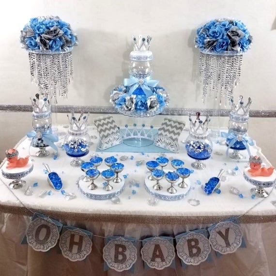 Prince Baby Shower Favors: Prince Baby Shower Candy Buffet Centerpiece With Baby