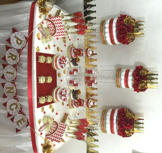 Red And Gold Baby Shower Candy Buffet Centerpiece With
