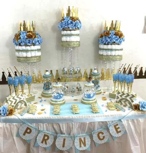 Little Prince Baby Shower Candy Buffet Diaper Cake