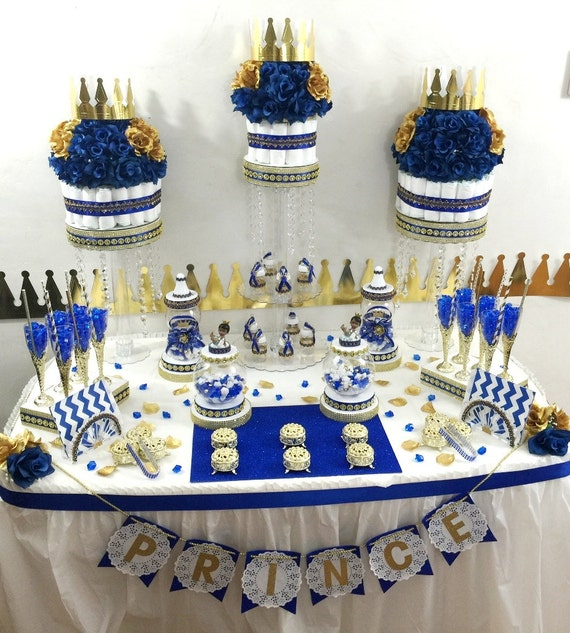 Royal Prince Baby Shower Candy Buffet Diaper Cake Centerpiece With