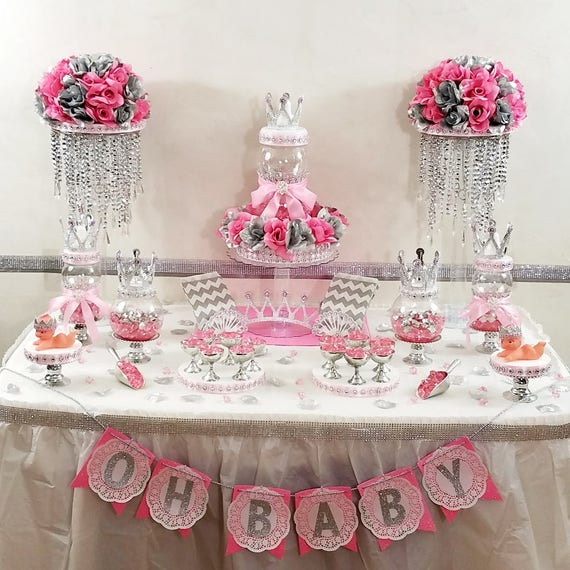 Princess Baby Shower Candy Buffet Centerpiece With Baby Shower Favors / Girls PINK And SILVER